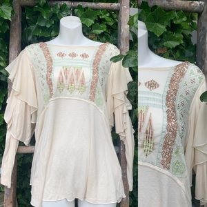 Free People Boho peasant blouse S